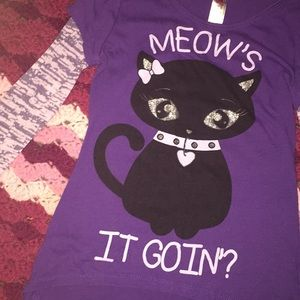 Meow's it going? Tee Girls Small